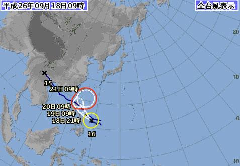 台風16号進路予想