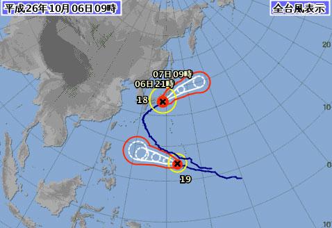 台風18号関東東海への影響