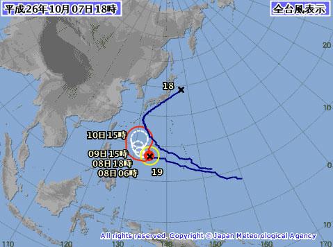台風19号ヤバイ進路予想