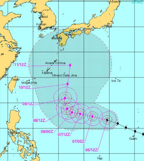 台風19号進路予想米軍2014