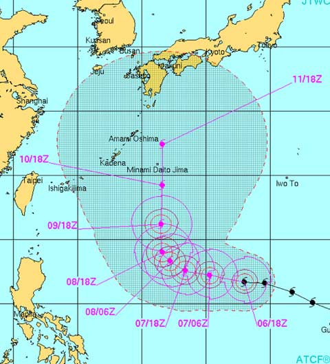 台風19号米軍進路予想図