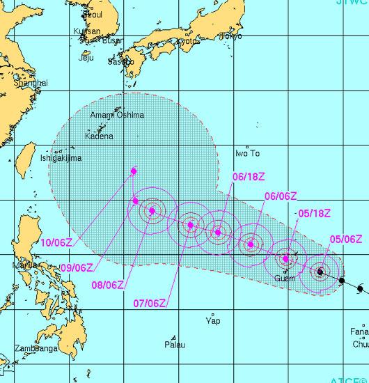 台風19号米軍進路予想図最新