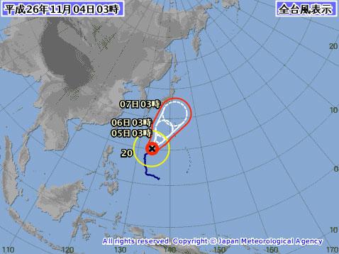 台風20号沖縄接近