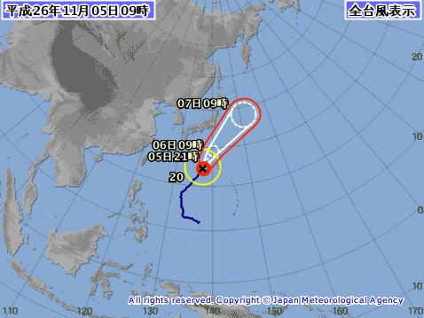 台風20号進路予想最新